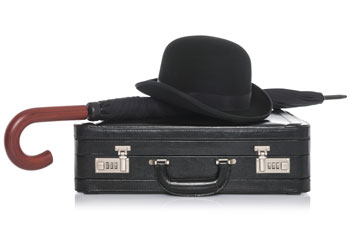 Businessman hat, umbrella & briefcase