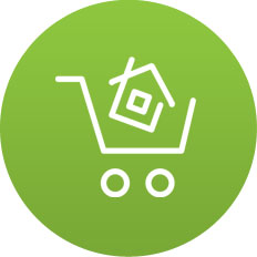 House in shopping basket icon