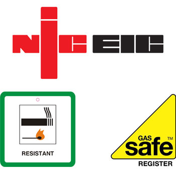 NICEIC, Furniture Fire Resistant, Gas Safe Register icons